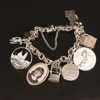 Sterling Silver Charm Bracelet Featuring Cincinnati Charms