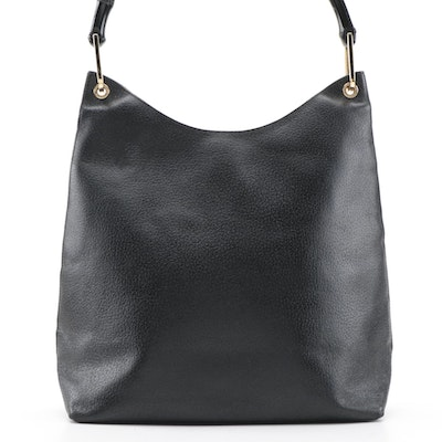 Gucci Black Grained Leather Shoulder Bag with Bamboo Handle