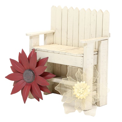Primitive Style Painted Wood Garden Bench with Floral Décor