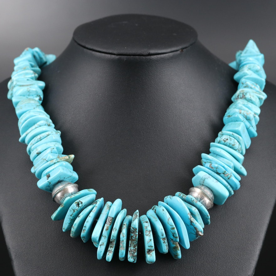 Sterling Turquoise Graduated Necklace