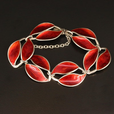 Willy Winneass for David Andersen Sterling Guilloché Double Leaf Bracelet