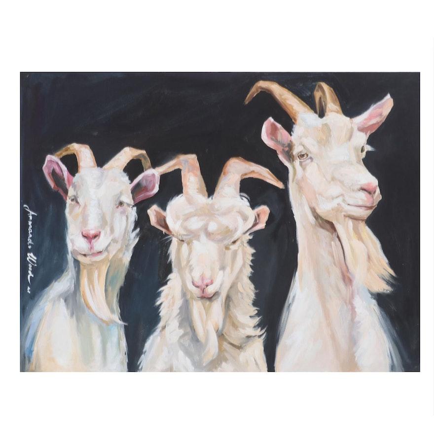 Armando Wood Oil Painting of Three Billy Goats, 21st Century