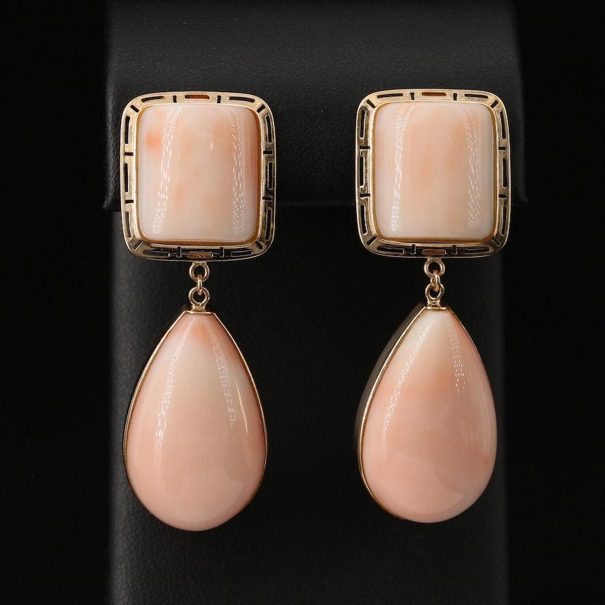 14K Coral Drop Earrings