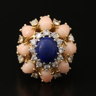 14K Lapis Lazuli, 1.00 CTW Diamond and Coral Cluster Ring