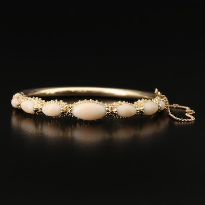 14K Coral Hinged Bangle