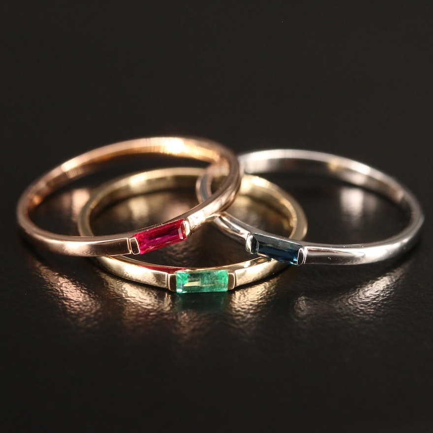 14K Tri Color Gold Stacking Bands Set with Ruby, Emerald and Sapphire