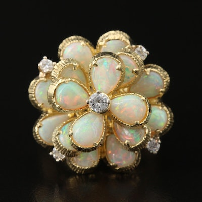 18K Diamond and Opal Floral Ring