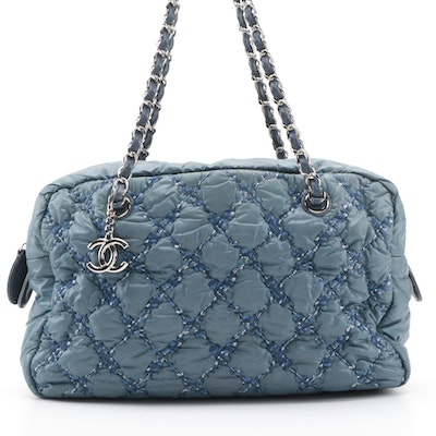 Chanel Blue Quilted Tweed Stitch Nylon Bubble Camera Bag