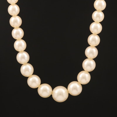 Graduated Pearl Necklace with 18K Diamond Clasp