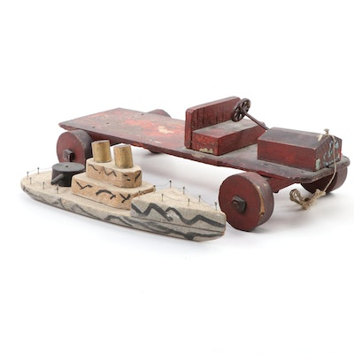 Handmade Naval Vessel and Pull-Truck Toys, Mid-20th Century