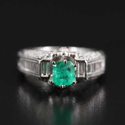 18K Emerald and Diamond Ring with GIA Report