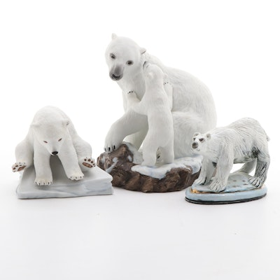"Lenox ""Bear Hug"", ""Polar Bear Cub"" and Other Porcelain Polar Bear Figurine"