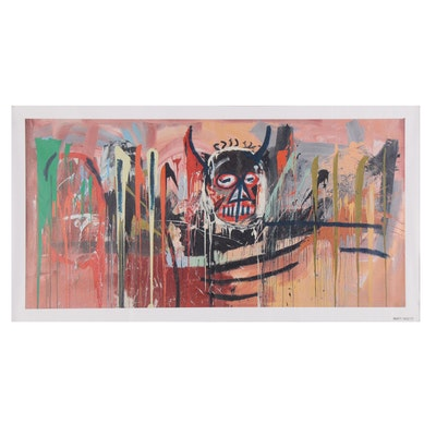 Giclée after Jean-Michel Basquiat of Abstract with Horned Skull