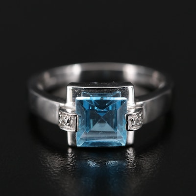 14K Topaz Ring with Diamond Accents