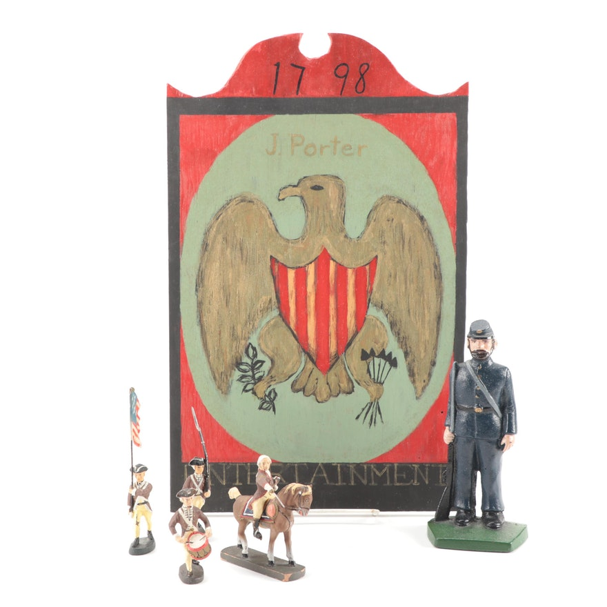 Cast Iron Union Soldier Door Stop with Elastolin Revolutionary War Figures
