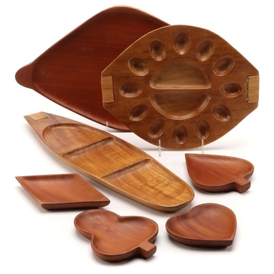 Haitian Mahogany and Taverneau Wood Serveware, Mid to Late 20th C.