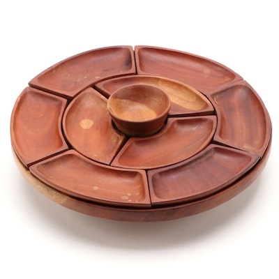 Mid Century Modern Wooden Lazy Susan Condiment Server