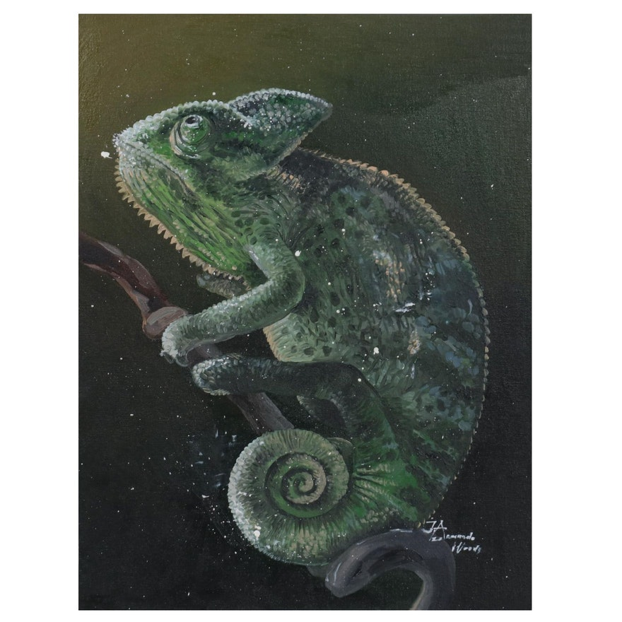 Armando Wood Oil Painting of Chameleon, 2020