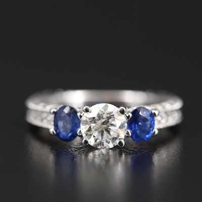 14K Diamond and Sapphire European Shank Ring