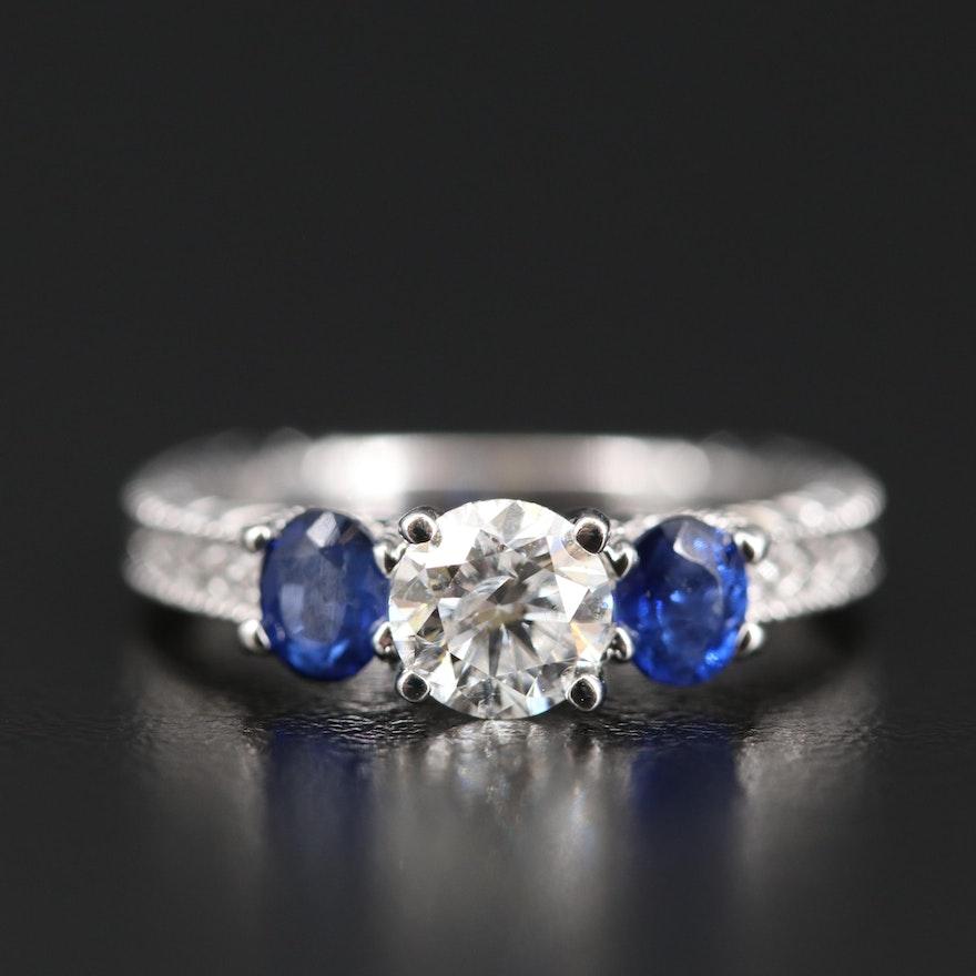 14K Diamond and Sapphire European Shank Ring