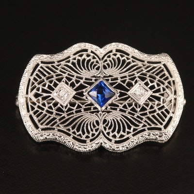 Vintage 14K and Platinum Sapphire and Diamond Openwork Brooch