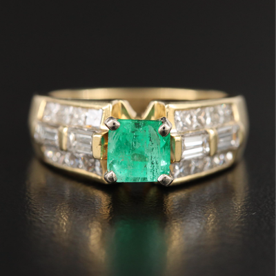 18K 1.01 CT Emerald and 1.39 CTW Diamond Ring with GIA Report