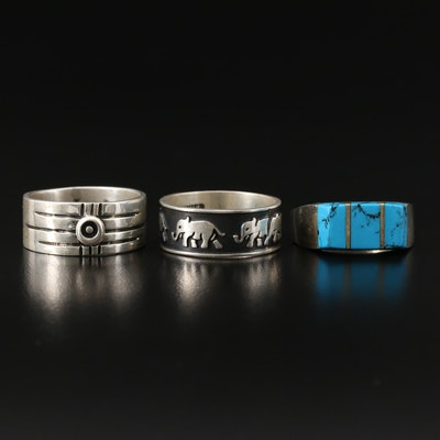 Mexican Sterling Silver Rings with Turquoise and Elephant Motif