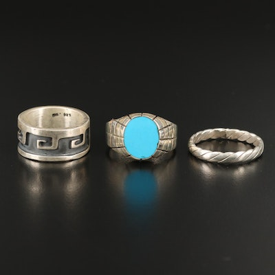 Sterling Bands and Faux Turquoise Ring