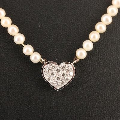 14K Pavé Diamond Heart and Pearl Necklace