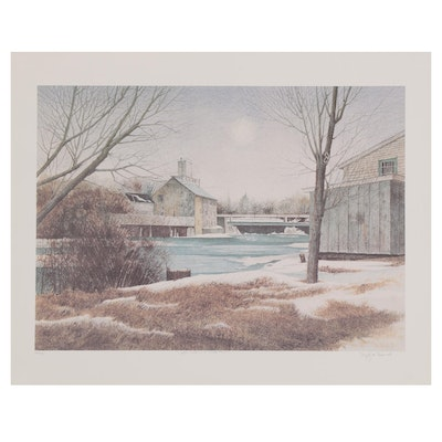 """Dwight Baird Offset Lithograph """"The Mill in Winter,"""" 1988"""