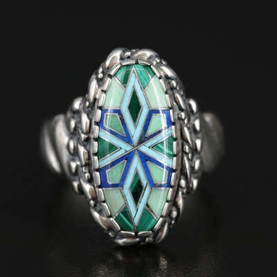Carolyn Pollack for Relios Sterling Malachite, Lapis Lazuli and Turquoise Ring