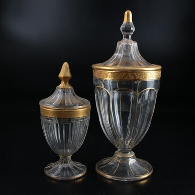 Gold Rimmed Glass Apothecary Jars, Early 20th Century