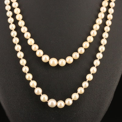 Vintage Graduated Double Strand Pearl Necklace with 18K Clasp