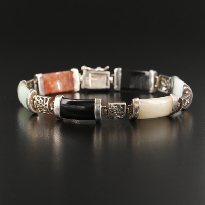 Sterling Jadeite and Black Onyx Bar Bracelet