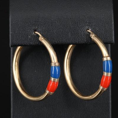 14K and Enamel Hoop Earrings