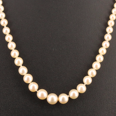 Graduated Pearl Necklace with 18K and Platinum Diamond Clasp