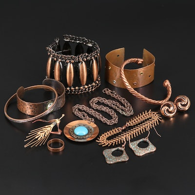 Bracelets, Earrings, Ring, Necklace and Brooch with Faux Turquoise