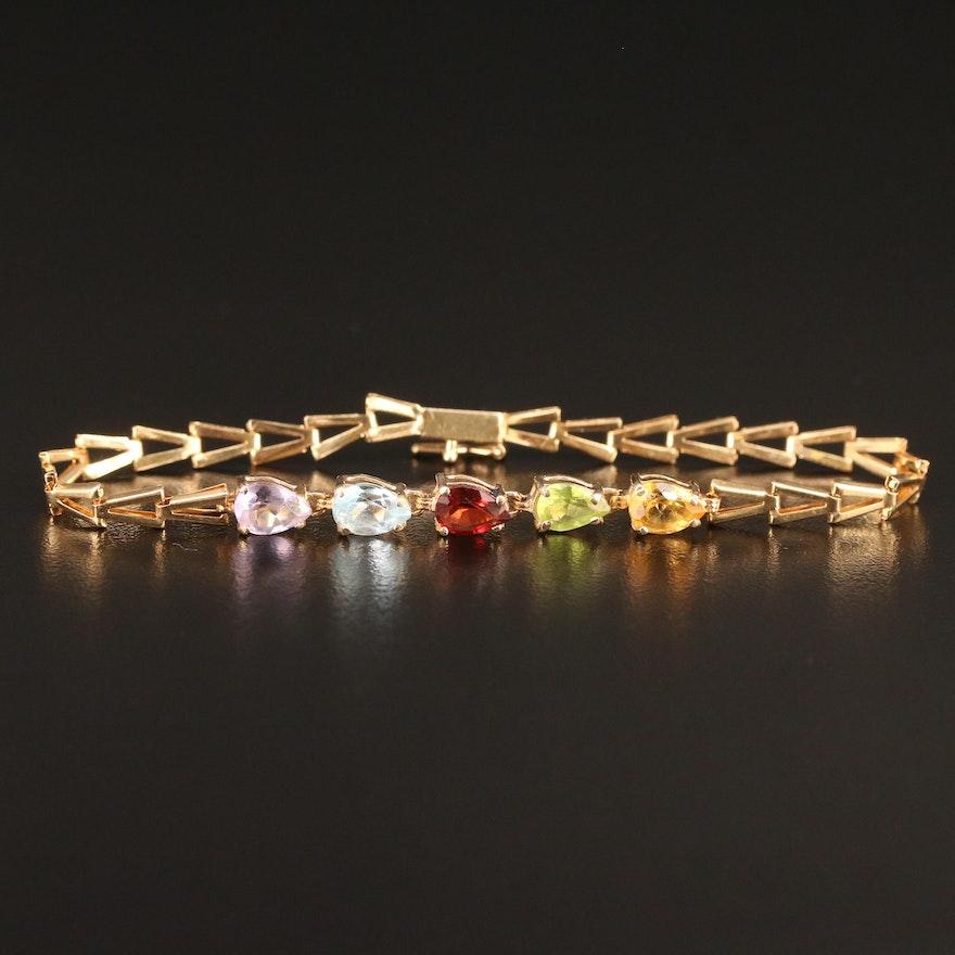 14K Citrine and Gemstone Triangular Link Bracelet