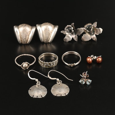 Sterling Rings and Earrings Including Pearl, Topaz and Marcasite