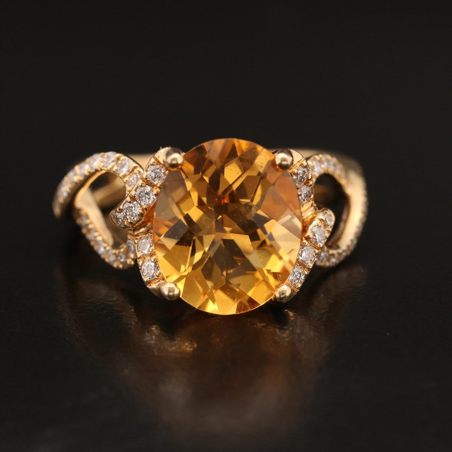 18K Citrine and Diamond Ring with Twisted Shank