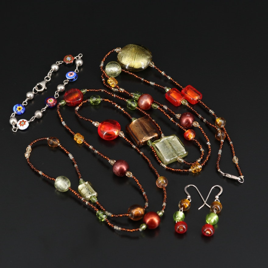 Murano Glass Jewelry with Sterling Silver