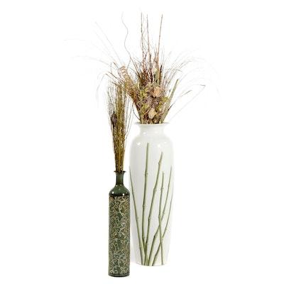 Garden Ridge and Jackson Carter Floor Standing Vases with Artificial Plants