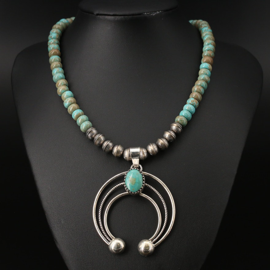Southwestern Style Sterling Silver Turquoise Naja Pendant Necklace