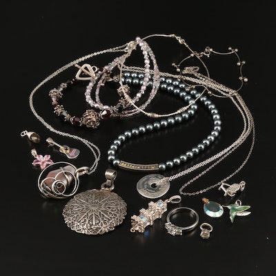Jewelry Including Sterling Agate, Cubic Zirconia and Faux Pearl
