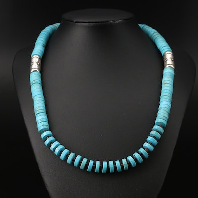 Southwestern Style Sterling Silver Turquoise and Horn Necklace