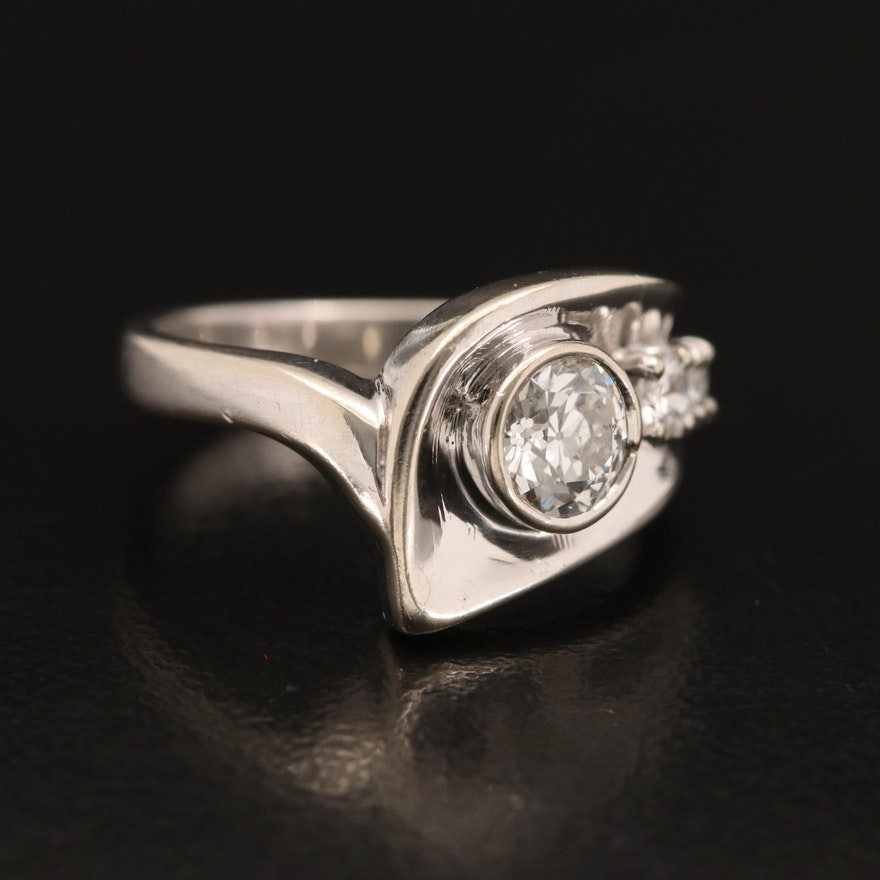 14K Diamond Abstract Ring