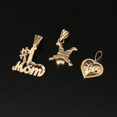"""14K Charms Including Puff Heart and """"# 1 Mom"""""""