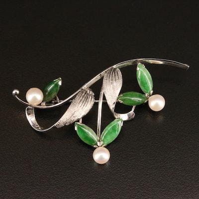 Vintage 14K Nephrite and Pearl Floral Brooch