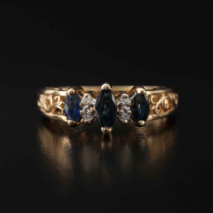 14K Sapphire and Diamond Ring with Openwork Detail