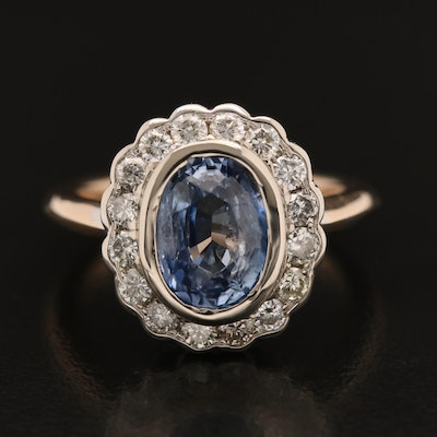 14K 3.09 CT Sri Lankan Sapphire and Diamond Ring with GIA Report